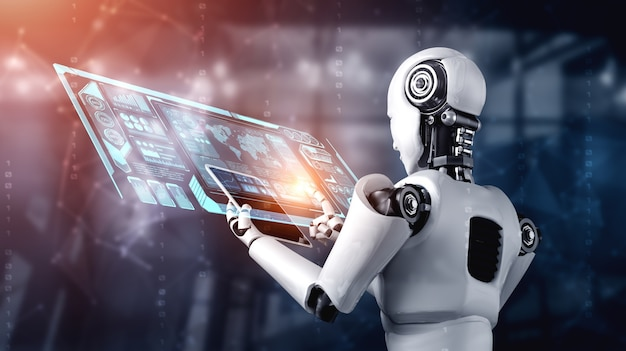 Humanóide robô usando computador tablet para análise de big data usando cérebro pensante de ia Foto Premium