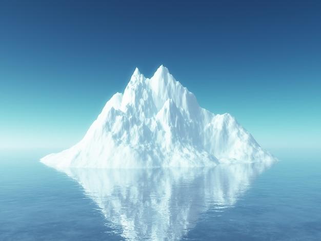 Iceberg 3d no oceano azul Foto Premium
