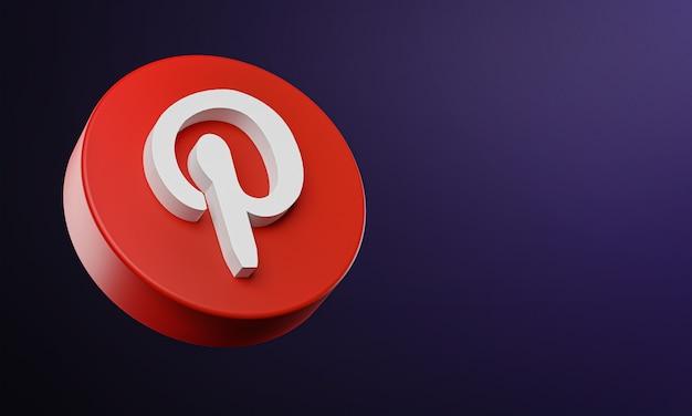 Ícone de botão circular do pinterest 3d com espaço de cópia Foto Premium
