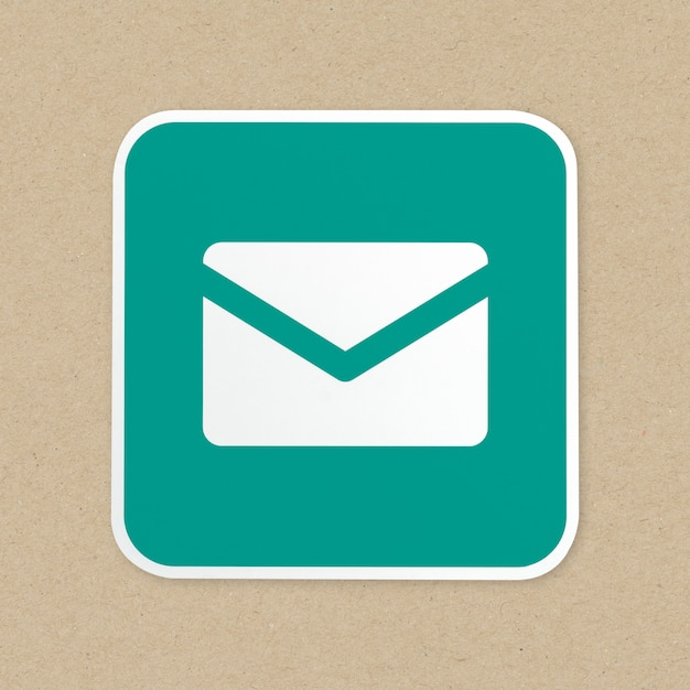 Ícone de botão verde de correio isolado Foto gratuita