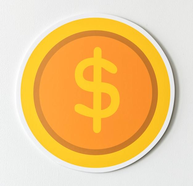 Ícone de câmbio de moeda do dólar estadunidense Foto gratuita