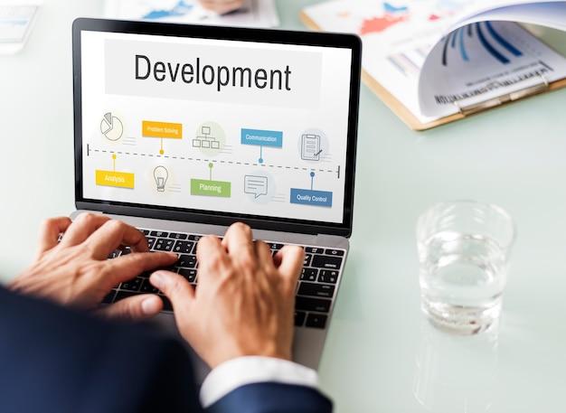 Ícone de desenvolvimento de desempenho do processo de operação Foto gratuita