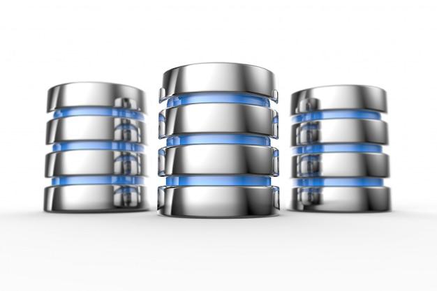 Ícone de disco rígido e banco de dados Foto Premium