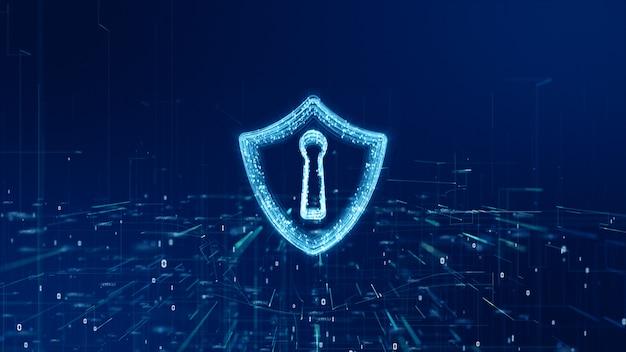 Ícone de escudo da segurança cibernética, proteção de rede de dados digitais, conceito de rede de tecnologia do futuro. Foto Premium