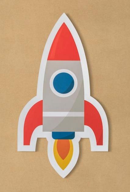 Ícone de foguete de lançamento de negócios Foto gratuita