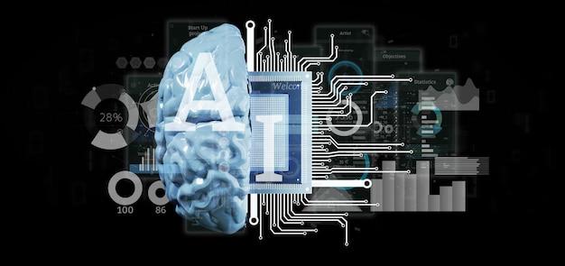 Ícone de inteligência artificial com meio cérebro e meia renderização 3d de circuito Foto Premium