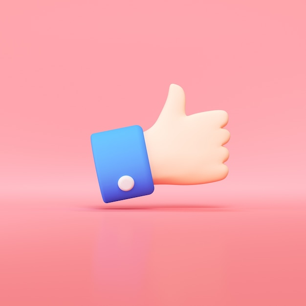 Ícone de mão polegares para cima, como o botão 3d render. Foto Premium