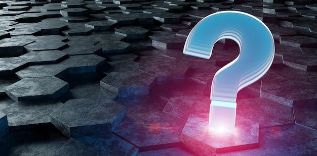 Ícone de pergunta-de-rosa azul preto na renderização 3d de hexágonos Foto Premium