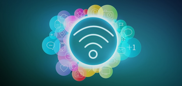 Ícone de wi-fi ao redor pelo ícone de mídia social colorfull renderização em 3d Foto Premium