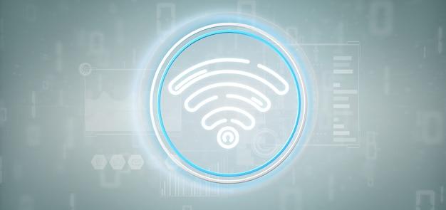 Ícone de wi-fi com estatísticas e código binário Foto Premium