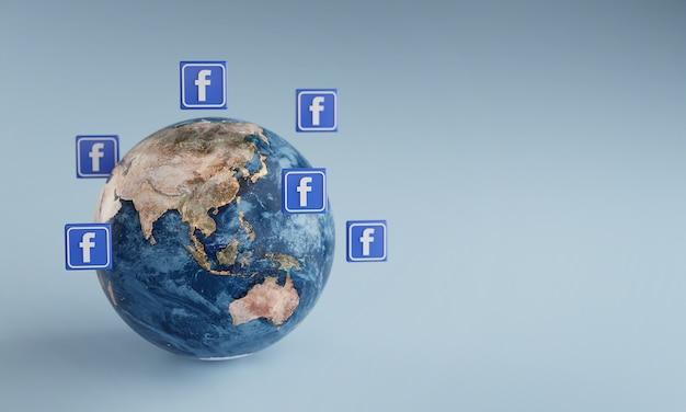 Ícone do logotipo do facebook em torno da terra. conceito de aplicativo popular. Foto Premium