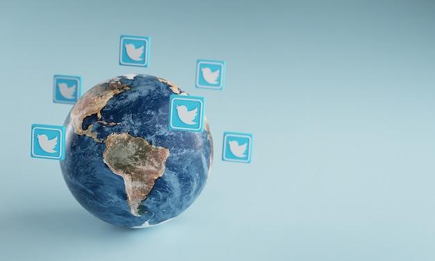 Ícone do logotipo do twitter em torno da terra. conceito de aplicativo popular. Foto Premium