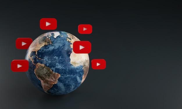 Ícone do logotipo do youtube em torno da terra. conceito de aplicativo popular. Foto Premium