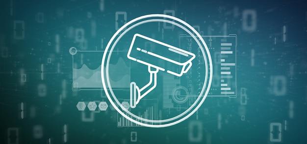 Ícone do sistema de câmera de segurança e dados estatísticos - renderização em 3d Foto Premium