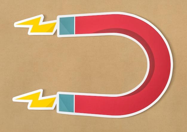 Ícone magnético ferradura ímã isolado Foto gratuita