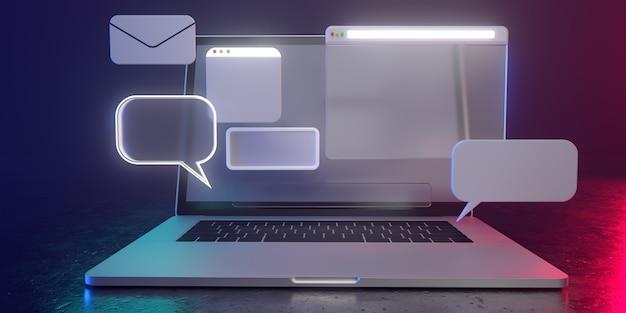 Ícones 3d holográficos no portátil com luz não ofuscante - ilustração 3d do uso social dos meios. todos vivem em uma atmosfera futurista. 3d render. Foto Premium