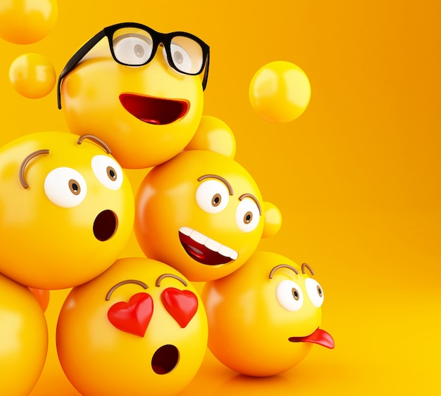 Ícones de 3d emojis com expressões faciais. Foto Premium