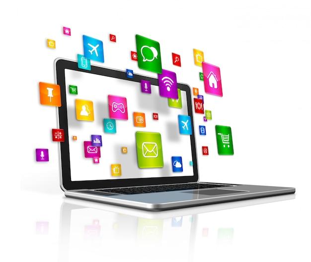 Ícones de aplicativos voadores e laptop isolado Foto Premium