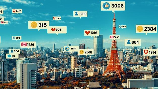 Ícones de mídia social sobrevoam a cidade no centro, mostrando a conexão do engajamento das pessoas Foto Premium