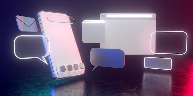 Ícones holográficos do smartphone 3d com luz não ofuscante - ilustração 3d do uso social dos meios do smartphone. todos vivem em uma atmosfera futurista. 3d render. Foto Premium