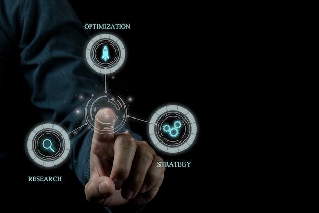 Ideia de conceito de foto de seo de marketing digital com conteúdo infográfico especial Foto Premium