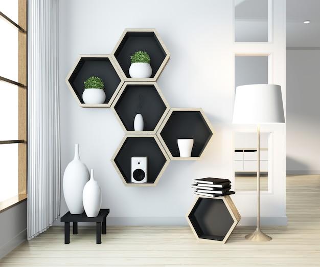 Ideia de design de madeira da prateleira do hexágono na parede no estilo moderno do zen da sala de visitas Foto Premium