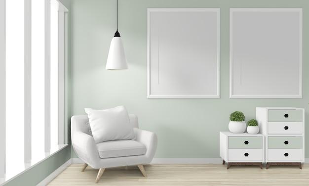 Ideia de mock up armário de madeira design japonês e. renderização 3d Foto Premium