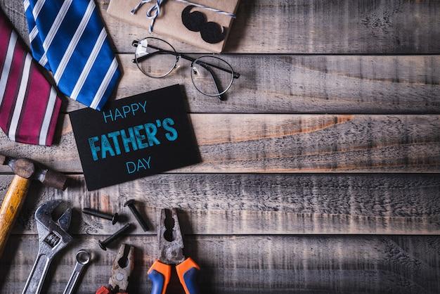Ideia superior do fundo feliz do conceito do dia de pais. lay plana. Foto Premium
