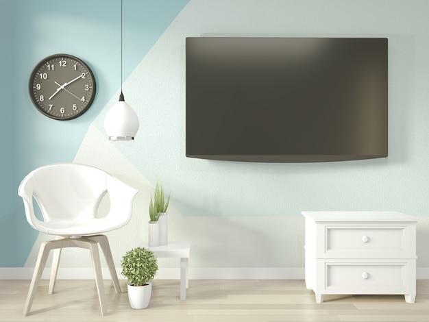 Idéias de sala de estar em azul e branco claro geometric wall art paint design cor cheia de estilo no piso de madeira Foto Premium