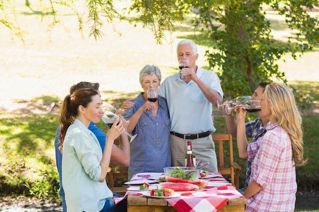 Idosos felizes brindando com sua família Foto Premium