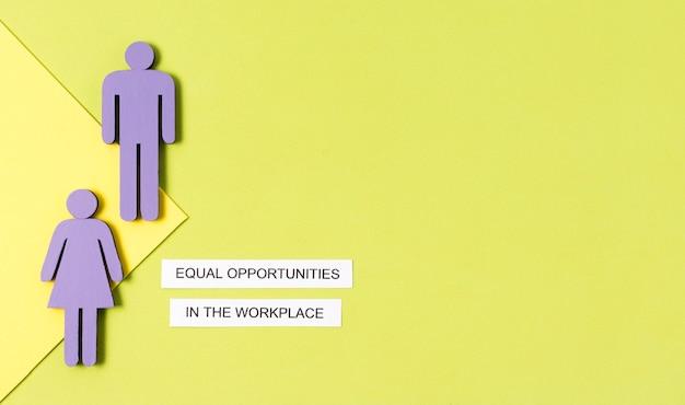 Igualdade de oportunidades no local de trabalho mulher e homem Foto gratuita