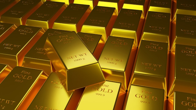 Illustartion 3d de barras de ouro 1000 gramas de ouro puro Foto Premium