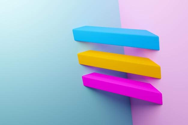 Ilustração 3d amarelo, rosa e azul padrão em estilo ornamental geométrico. Foto Premium