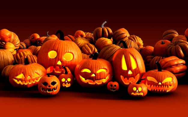 Ilustração 3d assustador jack o lantern abóboras de halloween no mercado do fazendeiro Foto Premium
