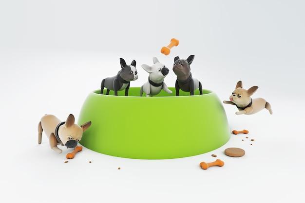Ilustração 3d cachorro brincando com uma grande tigela de comida Foto Premium