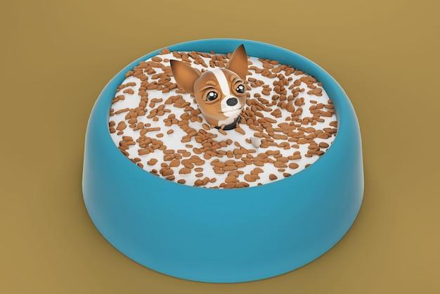 Ilustração 3d cachorro chihuahua em tigela de cachorro Foto Premium