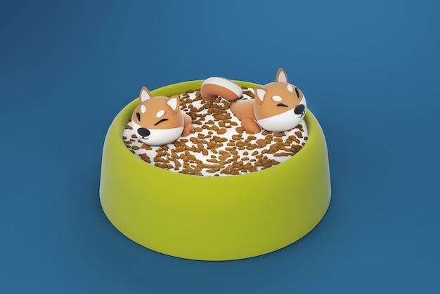 Ilustração 3d, cachorro flutuando na tigela de comida Foto Premium