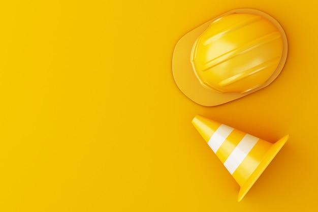 Ilustração 3d. capacete de segurança e cone do tráfego no fundo alaranjado. Foto Premium