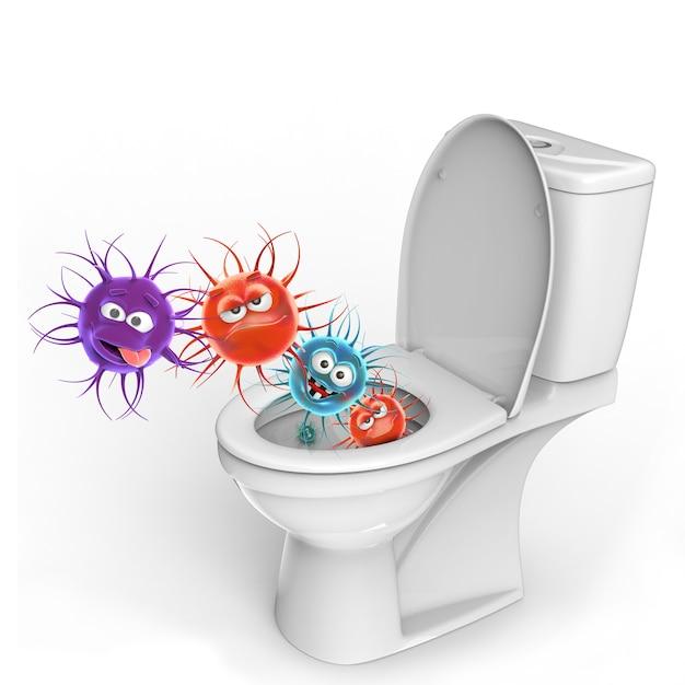 Ilustração 3d conceitual de micróbios higiênicos isolada no fundo branco Foto Premium