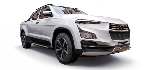 Ilustração 3d da caminhonete branco conceito de carga Foto Premium