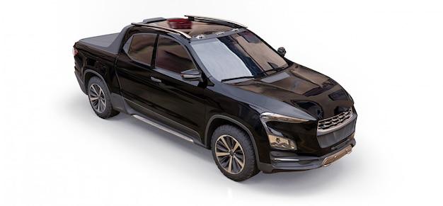Ilustração 3d da caminhonete de carga conceito preto sobre fundo branco isolado Foto Premium