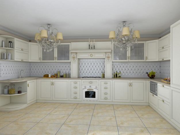 Ilustração 3d da cozinha branca no estilo clássico Foto Premium