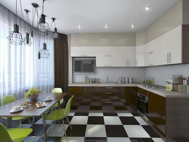 Ilustração 3d da cozinha moderna em tons marrons e bege Foto Premium