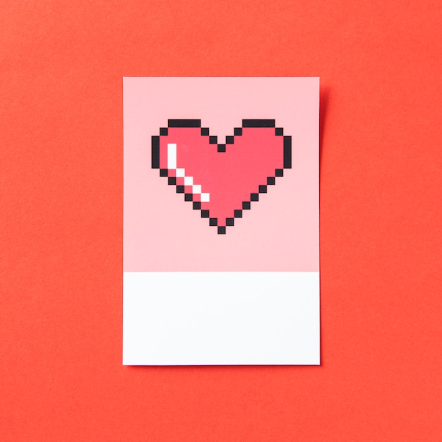 Ilustração 3d da forma do coração de pixelated Foto gratuita