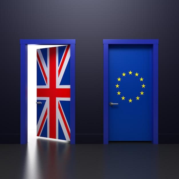 Ilustração 3d da porta com sinais reino unido e bandeiras da ue no assunto do referendo sobre a retirada da associação Foto Premium