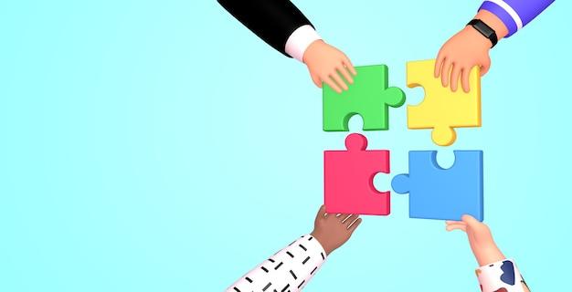 Ilustração 3d da renderização do trabalho em equipe. mãos segurando e colocando peças do puzzle. conceito de parceria, negócios e construção de equipes de coworking. Foto Premium
