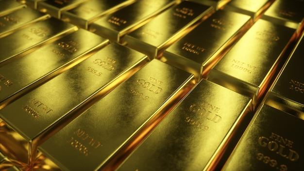 Ilustração 3d da visão da câmera deslizante em barras de ouro Foto Premium