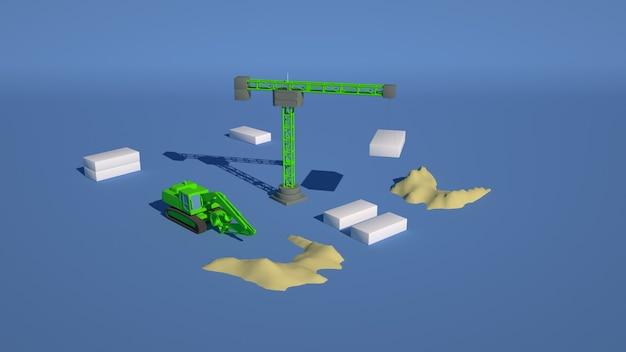 Ilustração 3d de um canteiro de obras, um guindaste levanta blocos de construção. Foto Premium