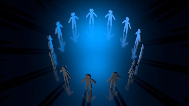 Ilustração 3d de um círculo de pessoas formando uma equipe Foto Premium