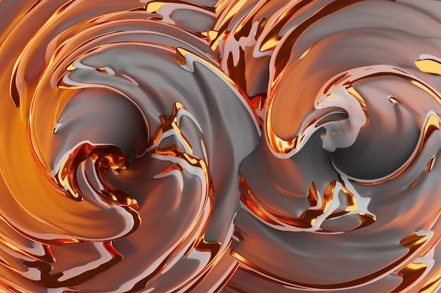 Ilustração 3d de um fundo abstrato marrom e dourado com círculos cintilantes e brilho. ilustração bonita. fundo abstrato com efeito espiralado em roxo Foto Premium